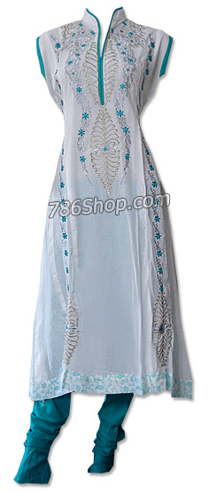 White/Turquoise Cotton Lawn Suit   Pakistani Dresses in USA