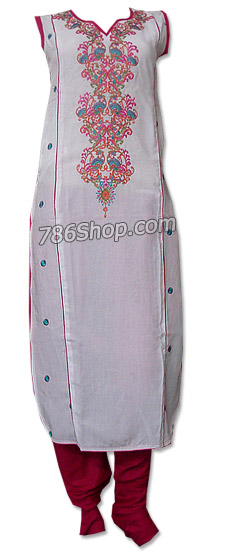 White/Red Cotton Lawn Suit | Pakistani Dresses in USA