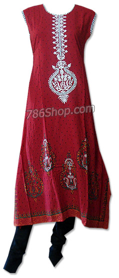 Red/Black Cotton Lawn Suit  | Pakistani Dresses in USA