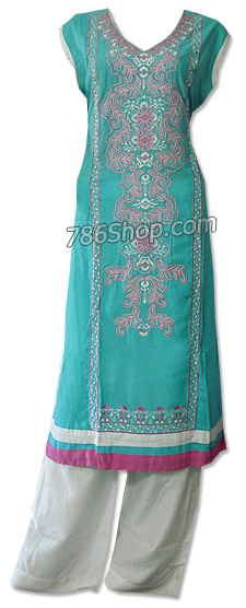 Sea Green/White Cotton Lawn Suit | Pakistani Dresses in USA