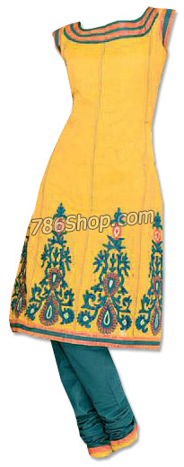 Yellow/Teal Georgette Suit | Pakistani Dresses in USA