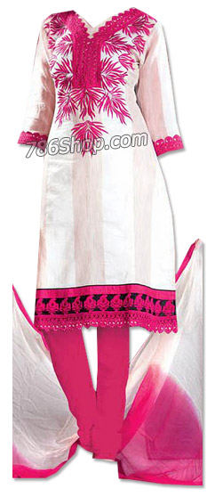 White/Hot Pink Georgette Suit | Pakistani Dresses in USA