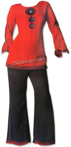 Red/Black Chiffon Trouser Suit� | Pakistani Dresses in USA