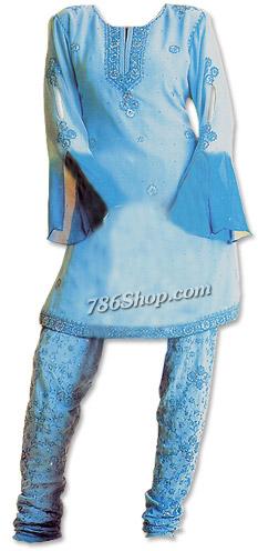 Light Blue Chiffon Trouser Suit  | Pakistani Dresses in USA