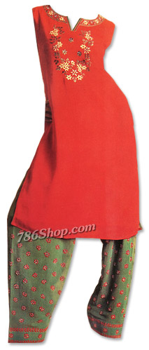 Red/Green Georgette Suit | Pakistani Dresses in USA