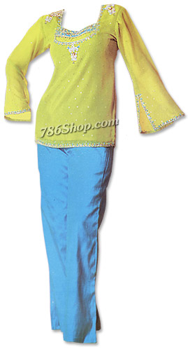 Parrot Green/Turquoise Chiffon Trouser Suit� | Pakistani Dresses in USA