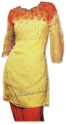 Orange/Yellow Chiffon Suit� | Pakistani Dresses in USA