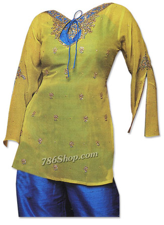 Yellow/Blue Chiffon Suit� | Pakistani Dresses in USA