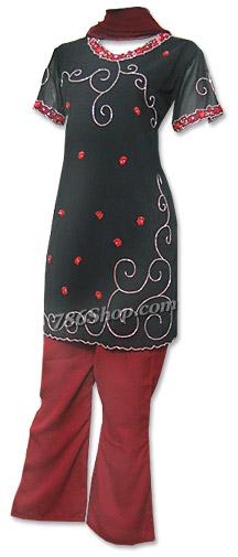 Black/Maroon Georgette Trouser Suit   Pakistani Dresses in USA