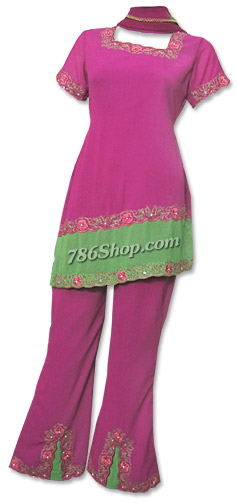 Magenta Georgette Trouser Suit | Pakistani Dresses in USA