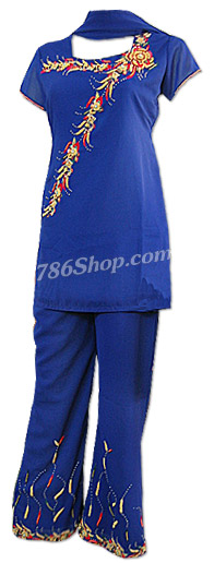 Royal Blue Georgette Trouser Suit  | Pakistani Dresses in USA