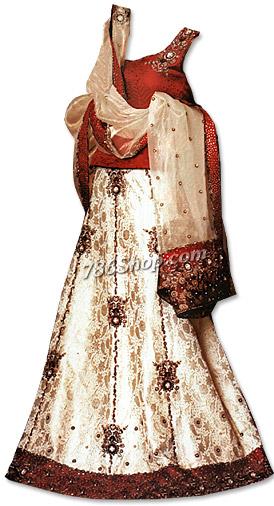 Maroon/Off-white Pure Jamawar Lehnga | Pakistani Wedding Dresses in USA