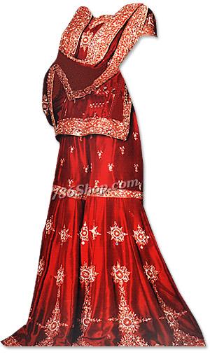 Red Satin Silk Gharara | Pakistani Wedding Dresses in USA