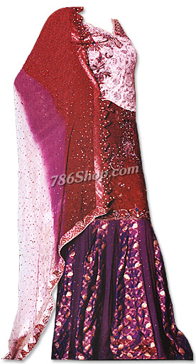 Pink/Maroon/Magenta Silk Lehnga | Pakistani Wedding Dresses