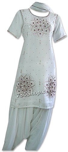 White Georgette Trouser Suit | Pakistani Dresses in USA