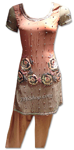 Peach Crinkle Chiffon Suit | Pakistani Dresses in USA
