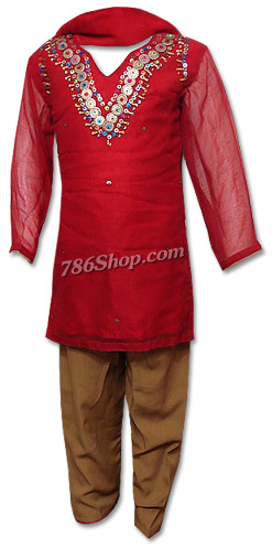 Red/Brown Chiffon Suit | Pakistani Dresses in USA