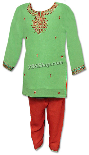Light Green/Red Georgette Suit | Pakistani Dresses in USA