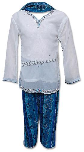 White/Blue Chiffon Suit | Pakistani Dresses in USA