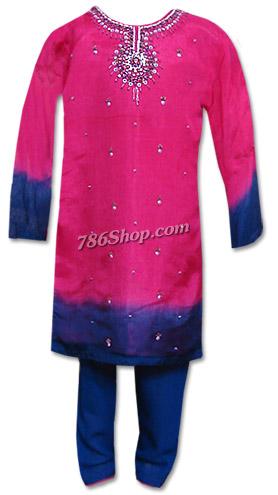 Shocking Pink/Blue Chiffon Suit | Pakistani Dresses in USA