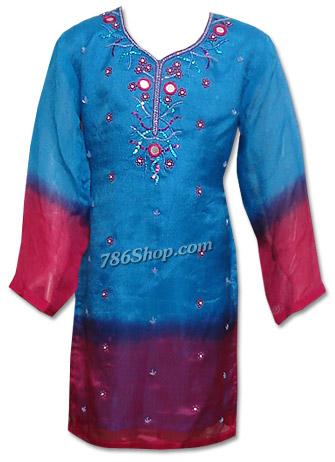 Blue/Shocking Pink Chiffon Suit | Pakistani Dresses in USA