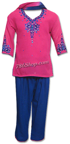 Shocking Pink/Blue Georgette Suit | Pakistani Dresses in USA