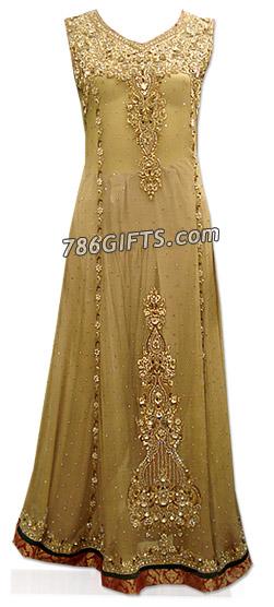 Light Golden Crinkle Chiffon Suit  | Pakistani Dresses in USA