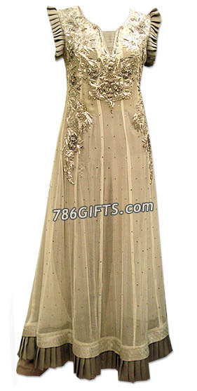 Off-White Crinkle Chiffon Suit | Pakistani Dresses in USA