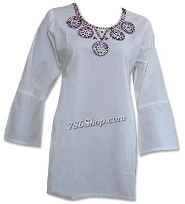 White Khaddi Cotton Kurti  | Pakistani Dresses in USA