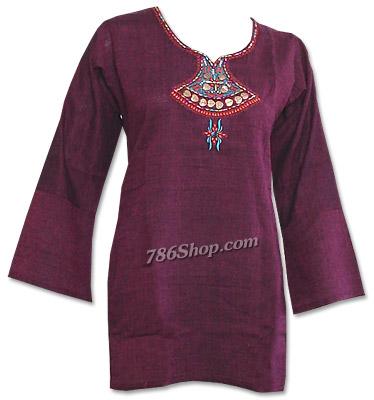 Magenta Khaddi Cotton Kurti | Pakistani Dresses in USA