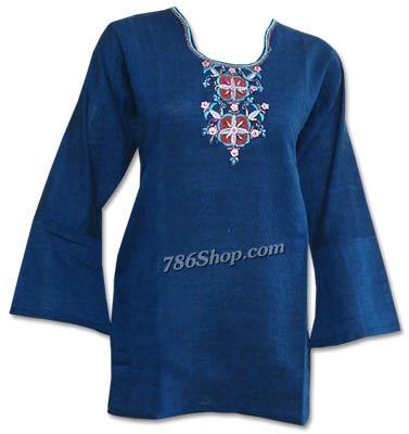Navy Blue Khaddi Cotton Kurti | Pakistani Dresses in USA
