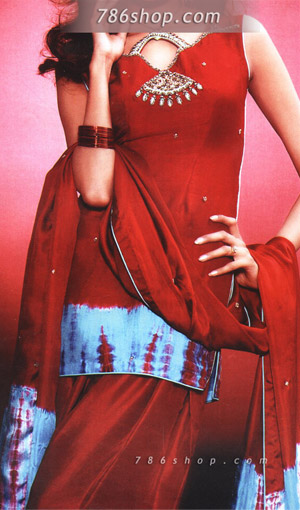 Red/Turquoise Silk Suit | Pakistani Party and Designer Dresses in USA