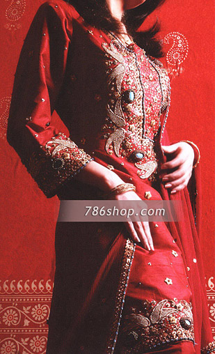 Red Silk Suit | Pakistani Party and Designer Dresses in USA