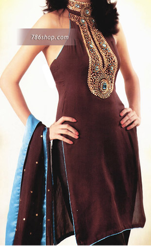 Dark Brown Chiffon Trouser Suit | Pakistani Party and Designer Dresses in USA