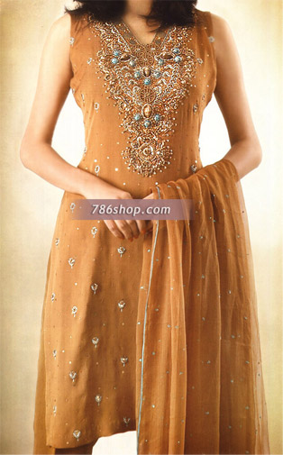Light Brown Crinkle Chiffon Suit | Pakistani Party and Designer Dresses in USA