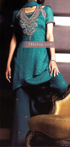 Teal Chiffon Suit   Pakistani Party and Designer Dresses in USA