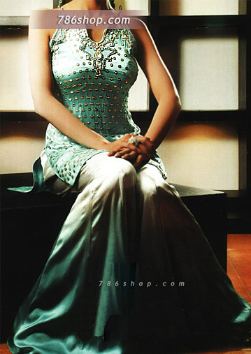 Sea Green Schmooze Silk Sharara | Pakistani Wedding Dresses