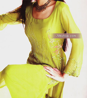 Lime Green Crinkle Chiffon Suit | Pakistani Party and Designer Dresses in USA