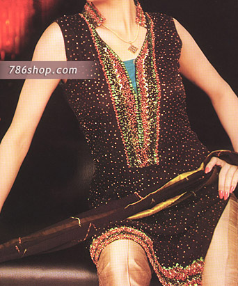 Dark Brown/Golden Chiffon Suit | Pakistani Party and Designer Dresses in USA