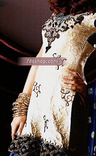 Off-White/Royal Blue Zarri Jamawar Suit | Pakistani Party and Designer Dresses in USA