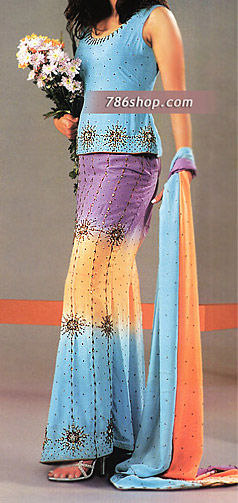 Sky Blue/Purple/Yellow Silk Lehnga   Pakistani Party and Designer Dresses