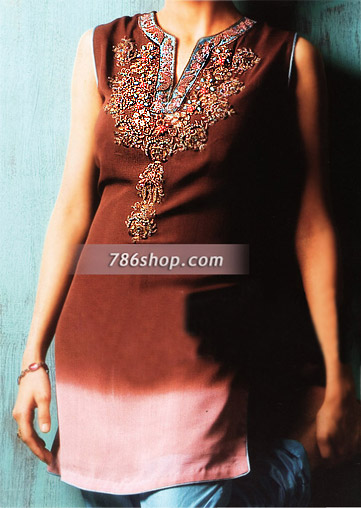 Brown Chiffon Trouser Suit | Pakistani Party and Designer Dresses in USA