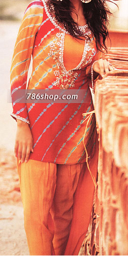 Orange/Mustard Chiffon Suit | Pakistani Party and Designer Dresses in USA
