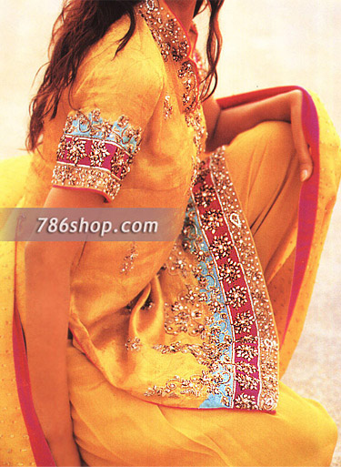Yellow Jamawar Silk Suit | Pakistani Party and Designer Dresses in USA