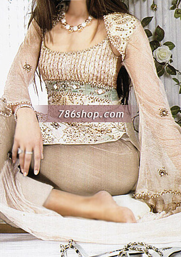 Light Brown Crinkle Chiffon Suit   Pakistani Party and Designer Dresses in USA