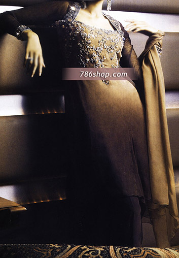 Brown Crinkle Chiffon Suit | Pakistani Party and Designer Dresses in USA