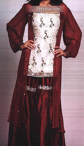 Off-White/Maroon Silk Gharara   Pakistani Wedding Dresses