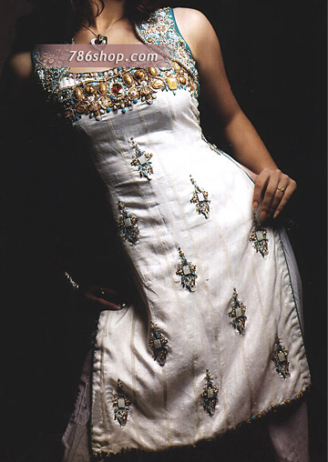 White Silk Suit | Pakistani Party and Designer Dresses in USA