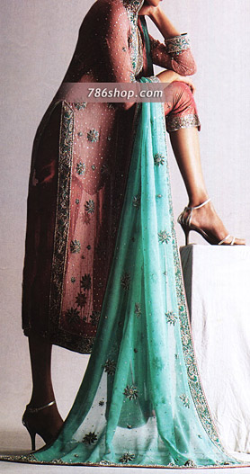 Tea Pink/Sea Green Chiffon Trouser Suit | Pakistani Party and Designer Dresses in USA