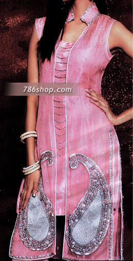 Tea Pink Silk Trouser Suit | Pakistani Party and Designer Dresses in USA